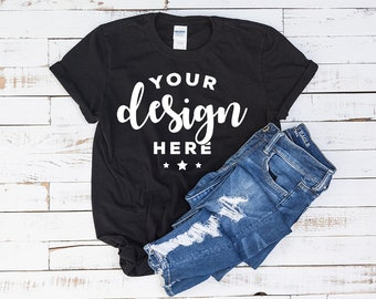Download Free Black Tshirt Mockup 100 Percent Ring Spun Cotton On Distressed Wood Background Hi Resolution Jpg File 300 Dpi PSD Template