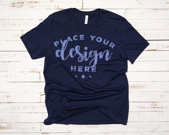 Bella Canvas 3001 Tshirt Mockup Blue Tee Mock T Shirt Template On Distressed Wood Background Digital Download 300 Hi Res Jpg File
