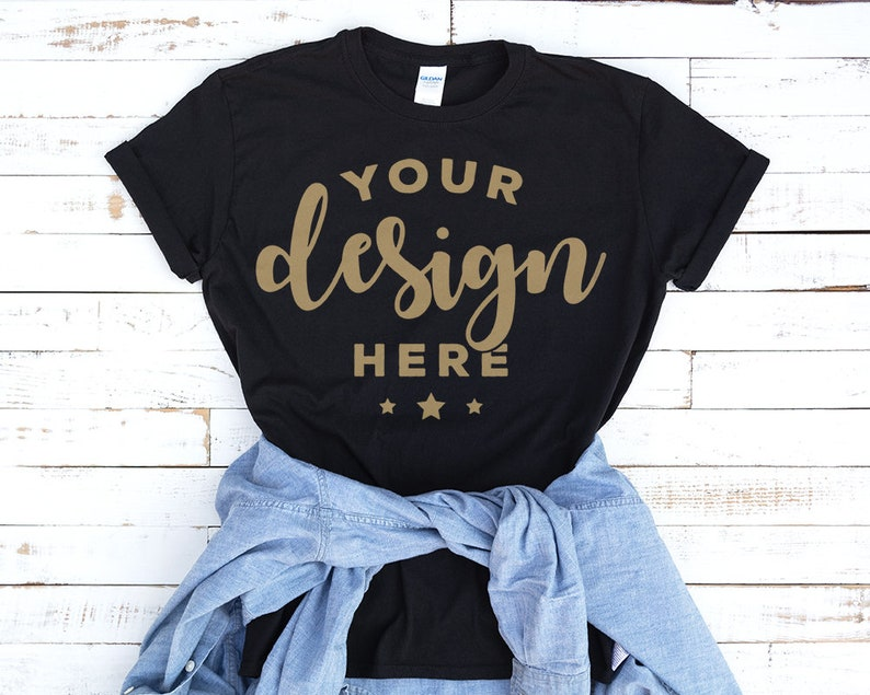 65d5bb8225 Black Tshirt Mockup With Blue Denim Shirt On Distressed Wood