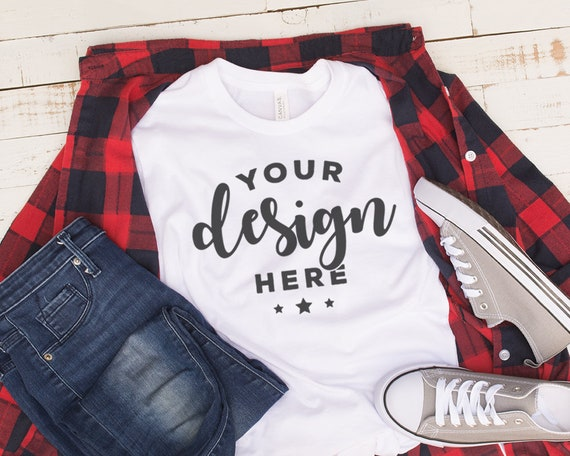 Bella Canvas 3001 Mockup With Red Plaid Shirt Jeans And Shoes Etsy