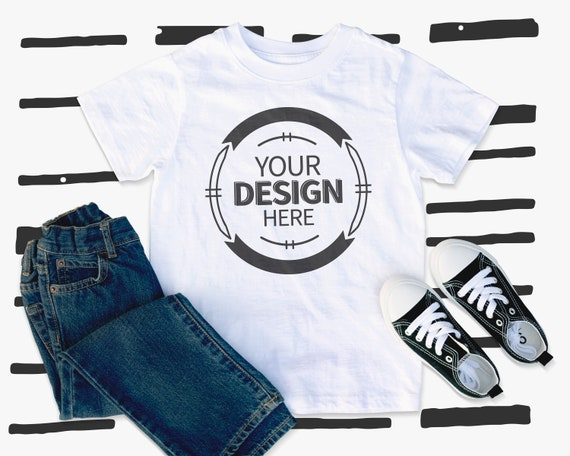 Kids Shirt Mockup White T Shirt Mock Jeans And Shoes Template Etsy