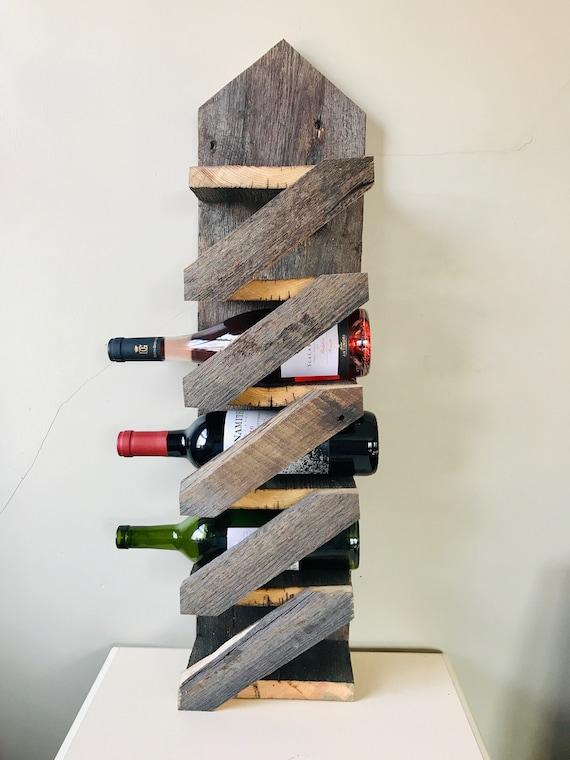 Reclaimed Barn Wood Rustic Wine Rack Etsy
