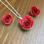 Crimson rose jewelry, necklace and earring set, handmade jewelry, polymer clay jewelry