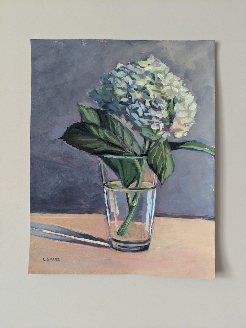 Peaceful and Quiet Gift Unframed Flower Original Painting Hydrangea 11x14 Flowers Flower Painting