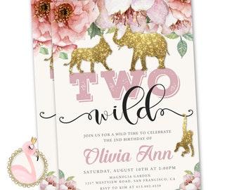 Two Wild Invitation Birthday Girl Safari Animals Floral 2nd Party Printable