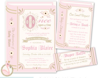 Book themed baby shower invitations etsy storybook baby shower invitation once upon a time invitation baby girl book themed baby shower invites printable digital or printed filmwisefo
