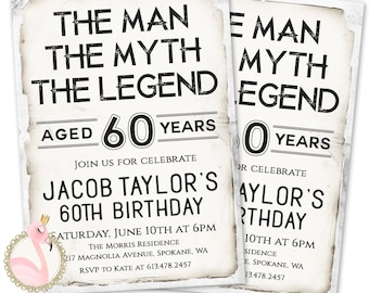 The Man Myth Legend Invitation Mens Birthday Invitations 60th Invites 50th 70th For A