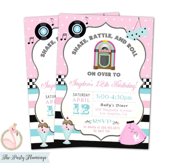 50s Theme Birthday Invitation Fifties Sock Hop 1950s Party Invite Diner Poodle Skirt