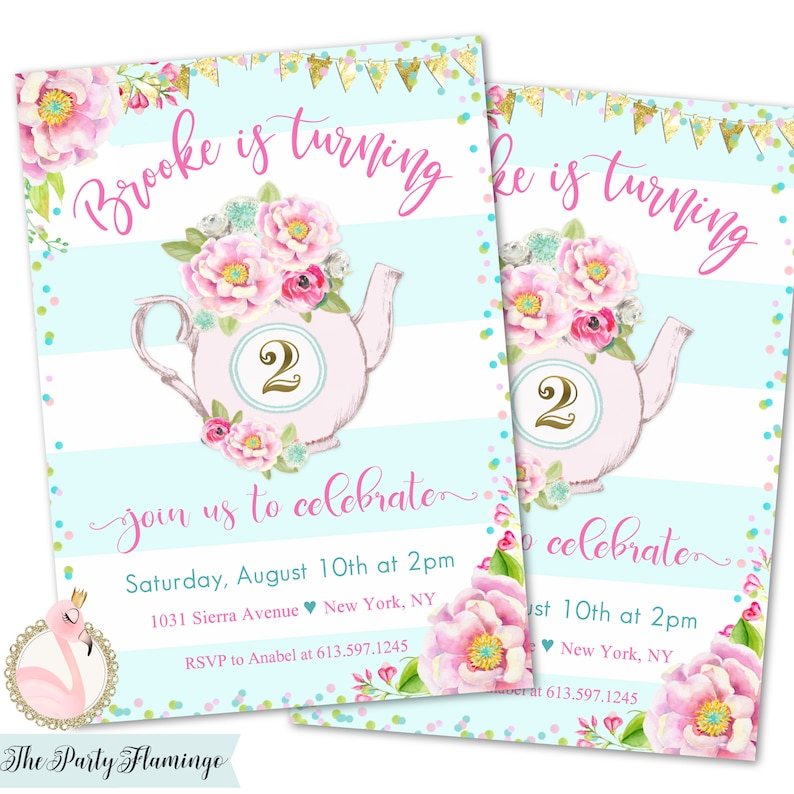 Tea Party Birthday Invitations For Two 2nd Girl Invites Girls