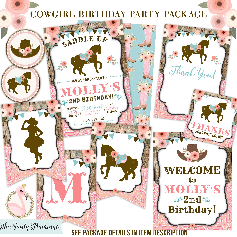 Horse Birthday Invitation Western Cowgirl Invitation horse | Etsy
