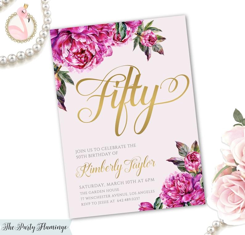 Printable 50th Birthday Invitation Floral
