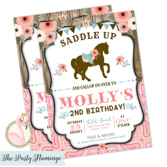Horse Birthday Invitation Cowgirl Pony Party Western Printable