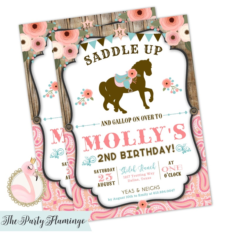 Horse Birthday Invitation Cowgirl