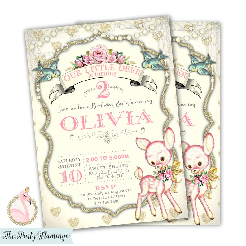 Deer 1st Birthday Invitation Girl Invitations