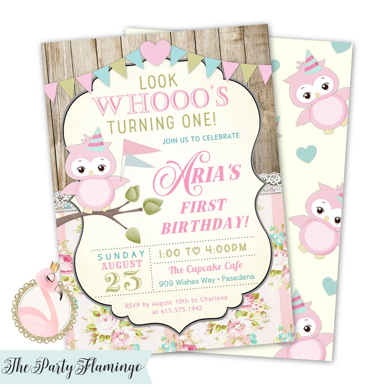 Owl Birthday Invitation Girl Themed