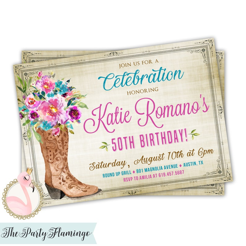 Cowgirl Birthday Invitations Western Invitation For Women Girls Teens Themed Party Printable Or Digital