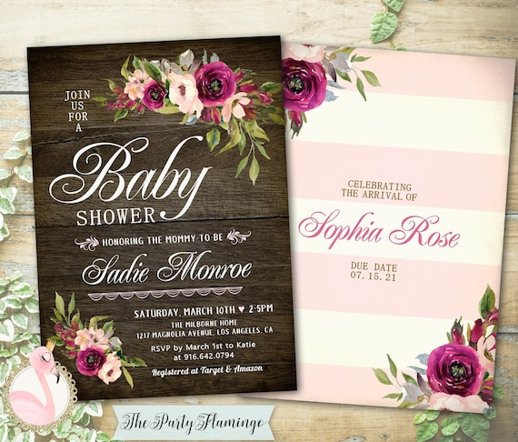 Rustic Baby Shower Invitation Girl Printable Rustic Baby Etsy