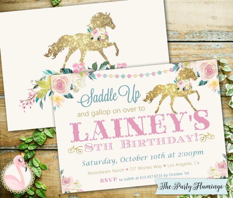Horse Invitation Horse Birthday Invitation Pony Party