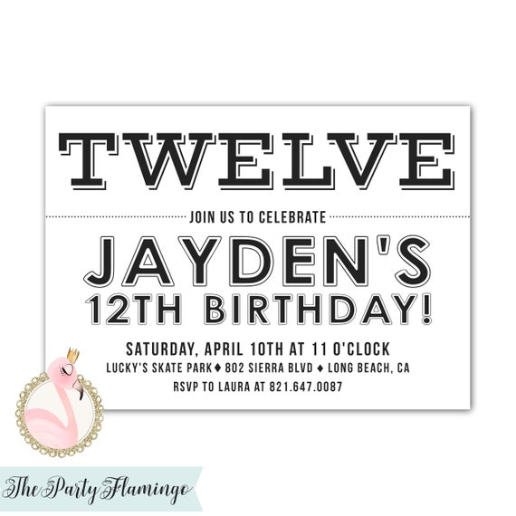 12th Birthday Invitations Boy Or Girl Black And White