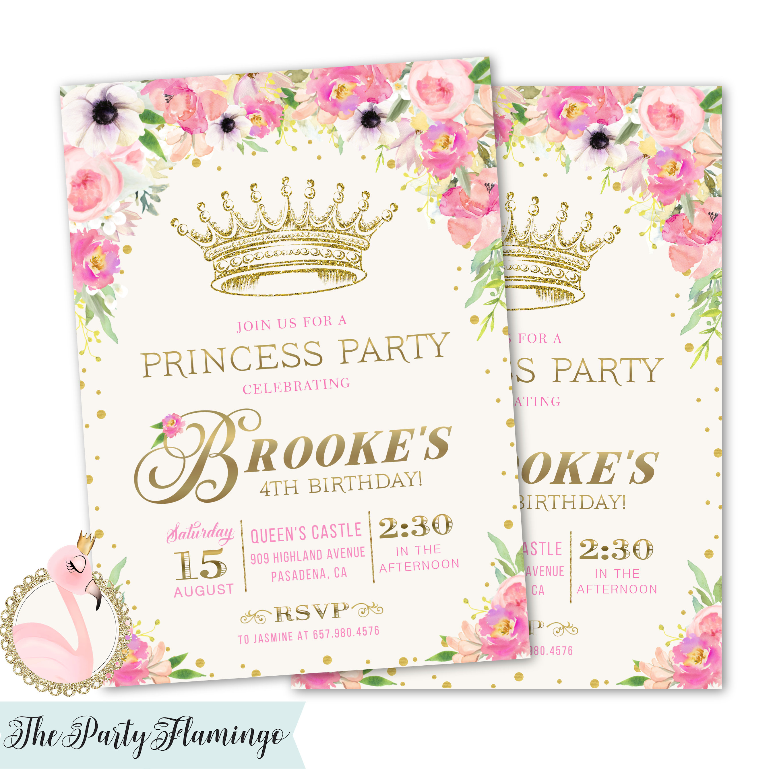 Princess Party Invitations Princess Birthday Party Invites Etsy