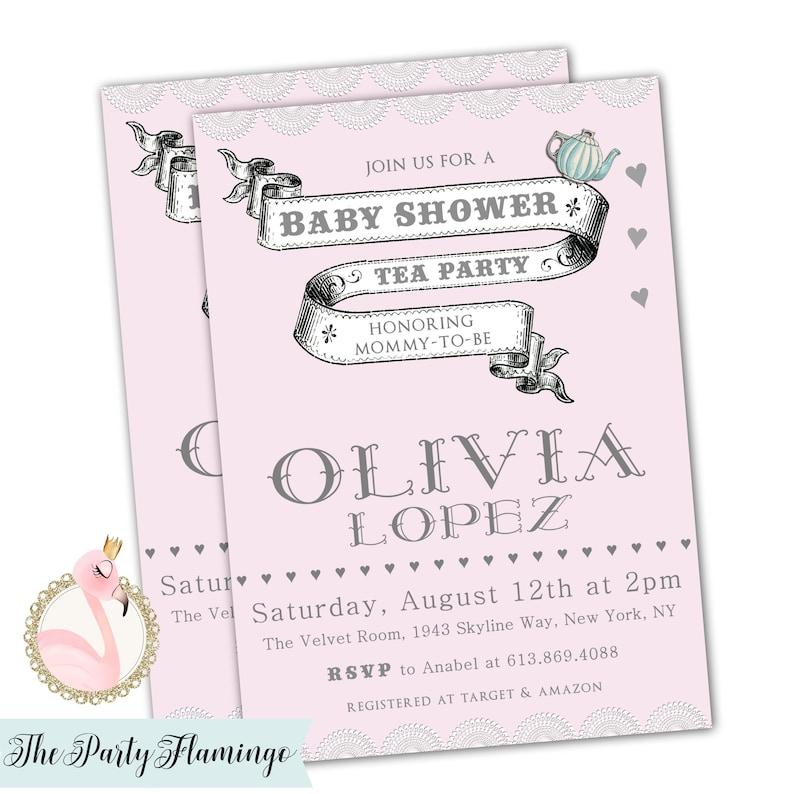 Tea Party Baby Shower Invitations Baby Tea Shower Invites Etsy