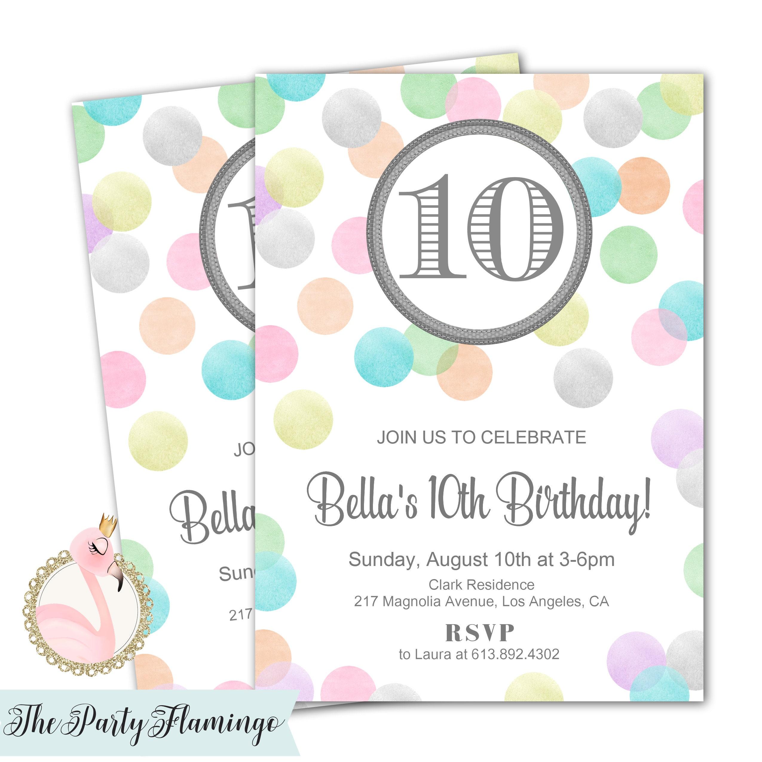 10th Birthday Invitation Girl Tween Invites 11th