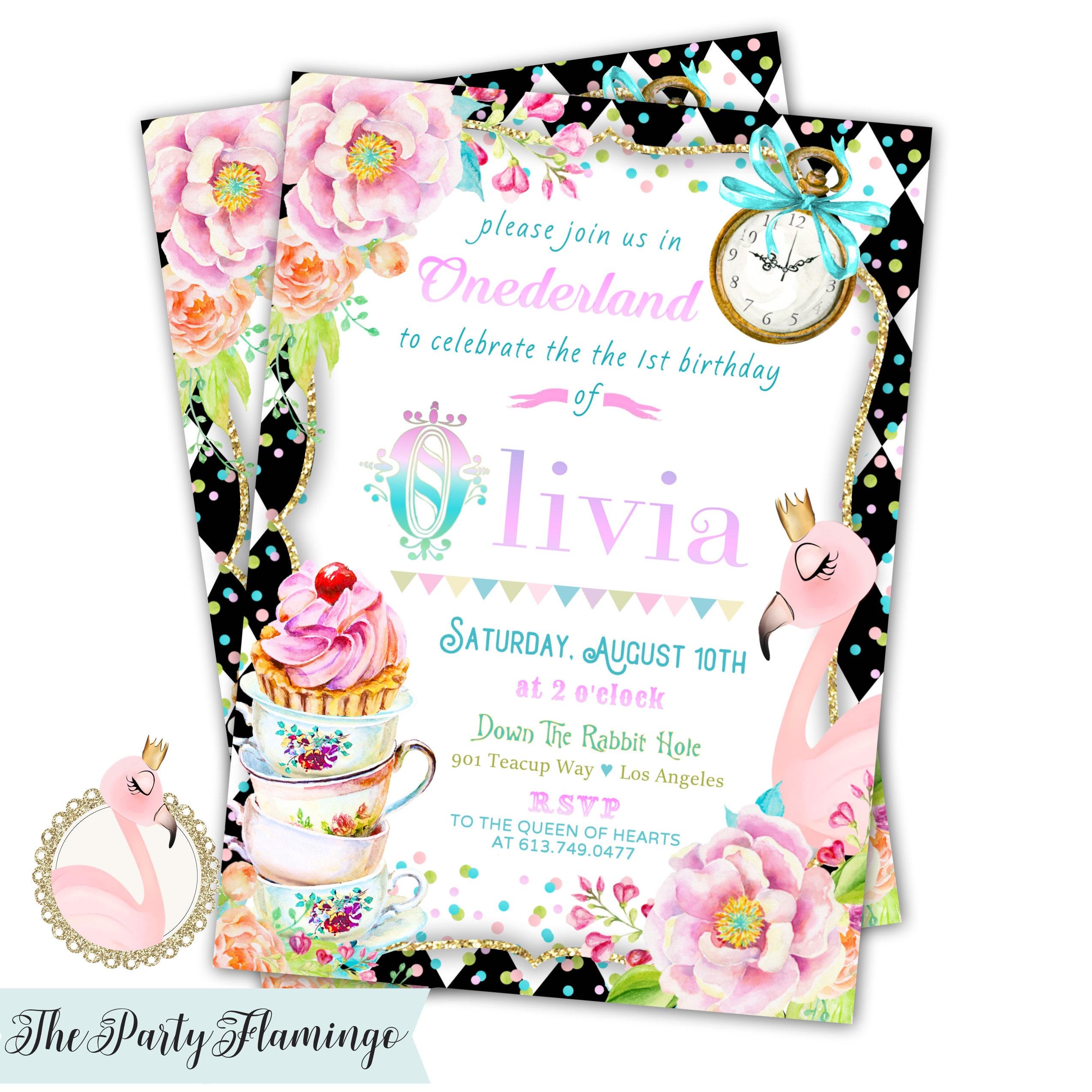 Wonderland birthday invitation Alice in Wonderland | Etsy