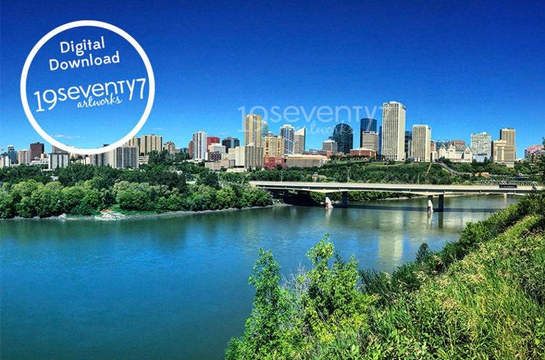 City Of Edmonton Skyline Digital Download Wall Art Home Decor Greeting Card Postcard