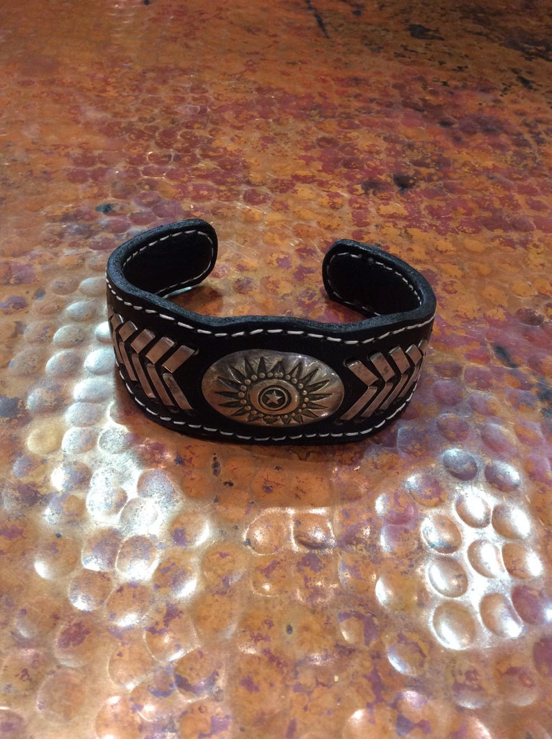 MENS And Womens Adjustable Leather Sterling Silver Cuff Bracelets