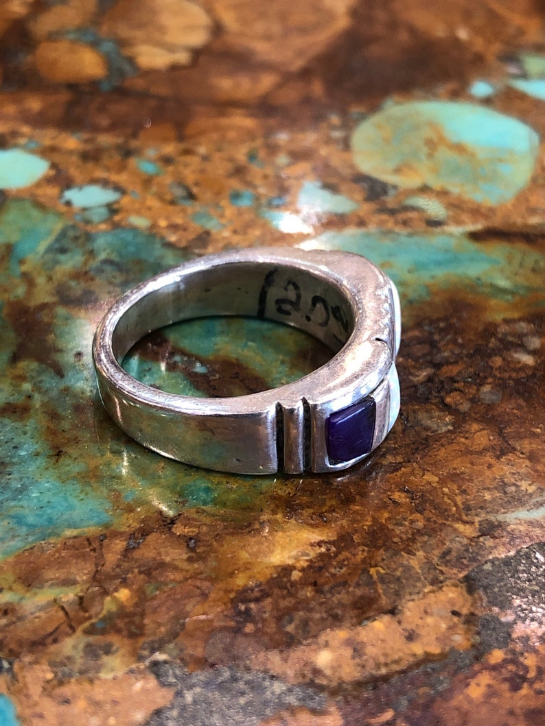Opal And sugilite Sterling silver Band Ring