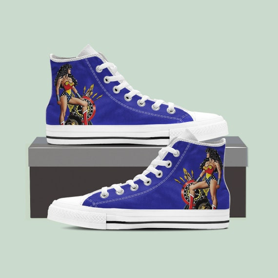 Top Wonder Wonder Wonder Wonder Top Sneaker Custom Shoes Woman Woman Shoes Converse High Custom Woman Woman Woman Converse High Wonder 7Zxp7arqw
