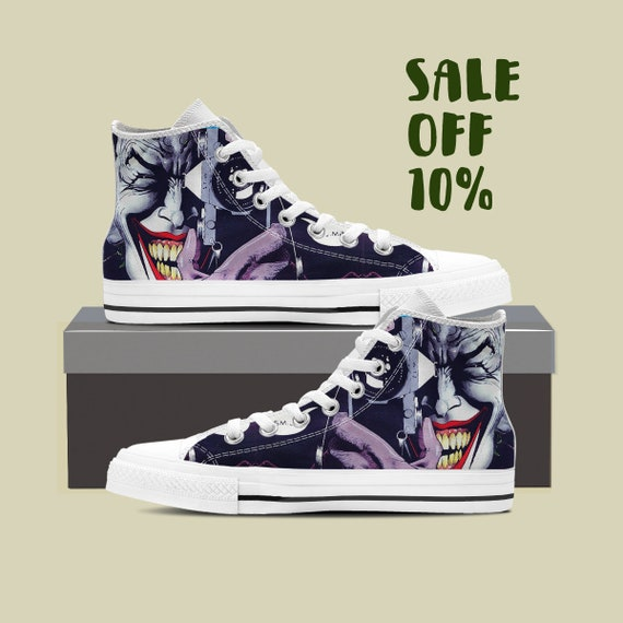Batman Sneaker Clown Custom Laugh Comics Top Custom The Joker High Harley Villain Shoes DC Quinn Converse Joker Super Custom Joker Joker FqIUU7w
