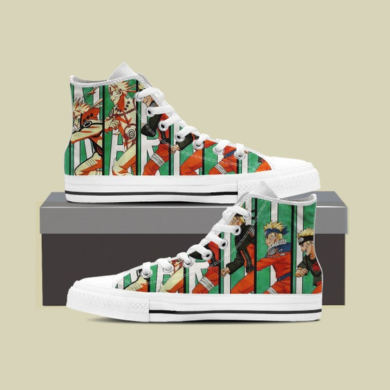 Naruto Naruto Naruto Top Anime Uzumaki Custom Naruto Custom Shippuden Custom Converse Custom Village High Shoes Shoes Leaf Sneaker qtPHBwt