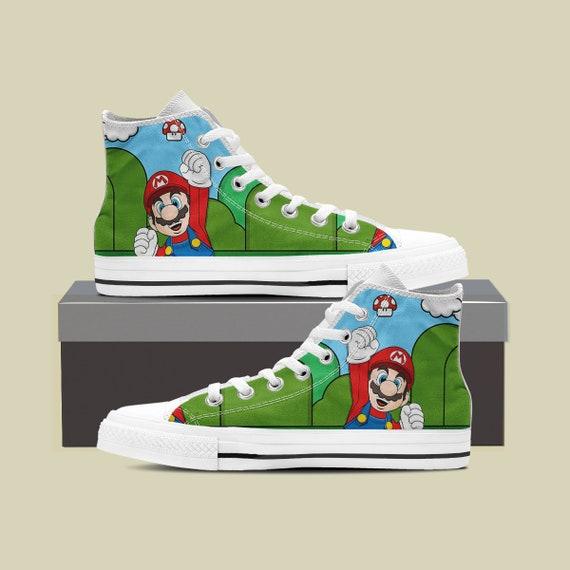Luigi Bros Mario Converse Mario Birthday Mario Converse Custom Shoes Mario Super Sneaker Party Super Super Custom Custom Mario Shoes 5qPXP8T