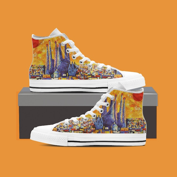 High FC Messi Map Top Converse Barcelona Sunset Barcelona Barcelona Shoes Custom Barcelona Converse Shoes Barcelona Sneaker Art Custom wqZSzH