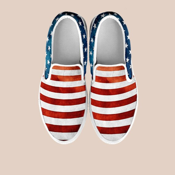 And 4th White shoes Blue On Vans Flag Slip July Shoes Custom Red July of Vintage Slip America America on American Shoes Shoes Fourth of aqTYOa