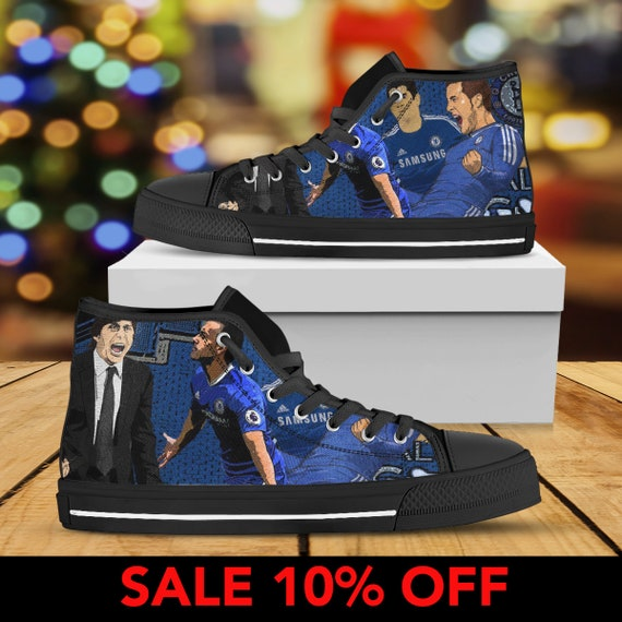 Chelsea League Hazard Chelsea Sneaker Hazard Eden Belgium Premier Football Club High Converse FC Top Chelsea Eden Shoes Shoes Custom FYwFrBxq