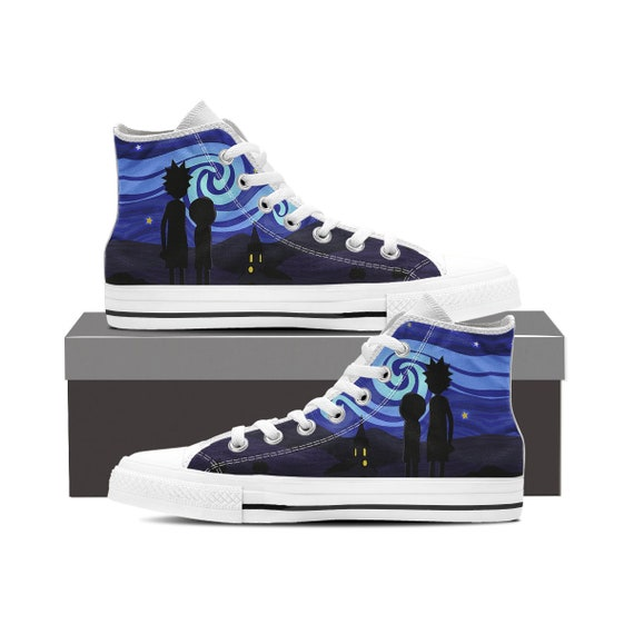 Mr Custom Rick Morty Swim and Custom Shoes Morty Sanchez Converse High Shoes Shoes Rick Rick and Custom Adult Converse Top Meeseeks EwzCqnF