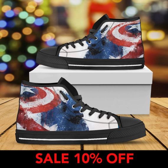 Marvel Captain Custom America Top America Shoes Shoes Converse Soldier High Captain Steve Captain Avengers America Winter Rogers 6qYg8