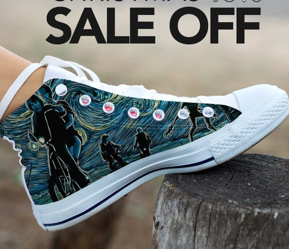 e61b8d9f738 Things Custom Starry upside Stranger Netflix Gogh Van The Stranger Converse  Shoes Stranger Things Night Eleven ...