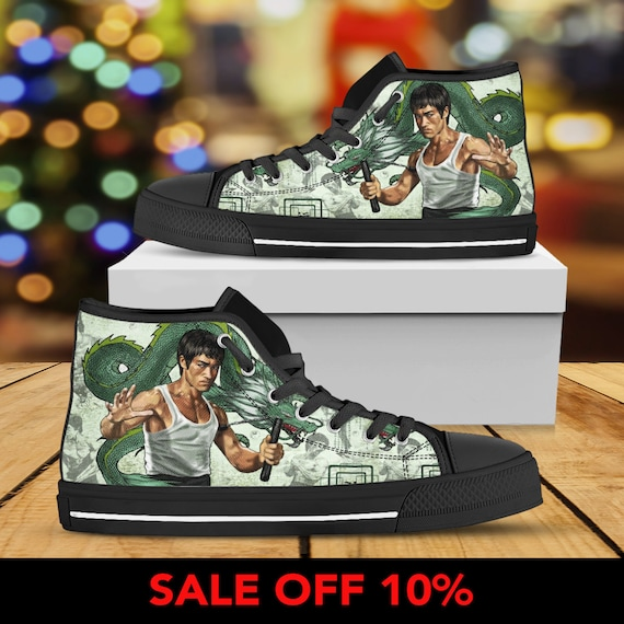 Lee Converse Arts Bruce Martial Converse Lee Bruce Custom Dragon fu Sneaker Custom Shoes Custom High Kung The Shoes Top Lee Bruce Enter dwqpPSfX