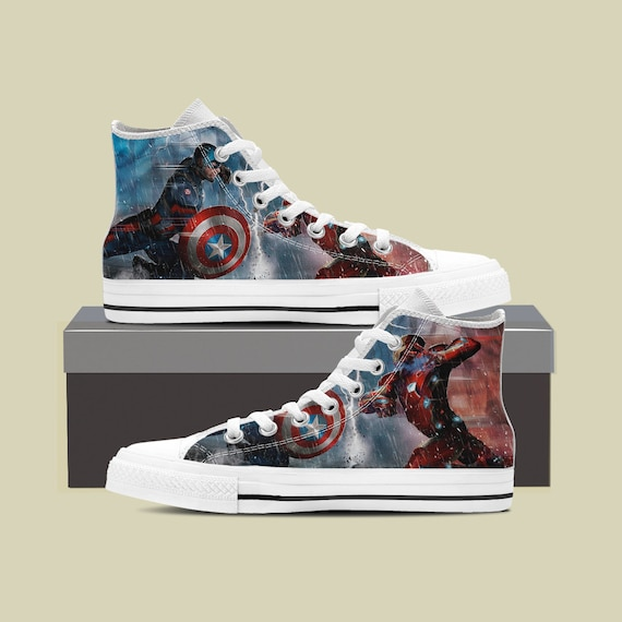 America Converse Winter Steve America Soldier Captain Iron Rogers Shoes Custom Shoes Marvel Avengers Shoes Captain Captain Man America g6x7dtdq