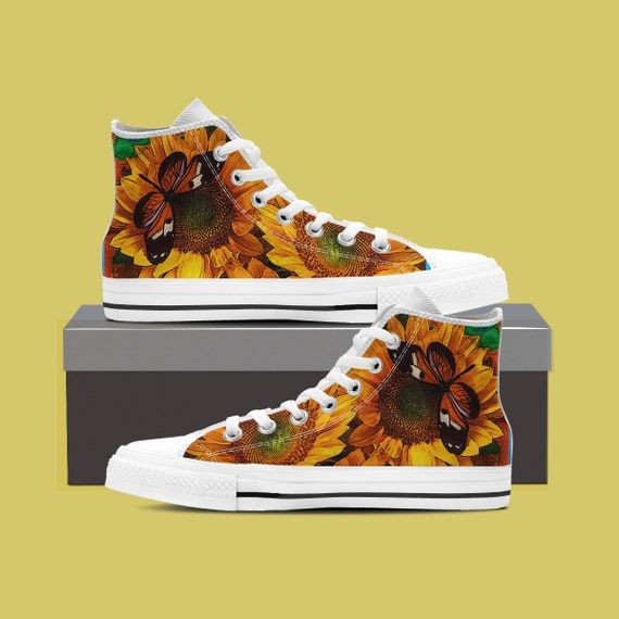 custom shoes Sunflower high sunflower Sunflower Custom converse shoes Sunflower Sunflower top sneaker Wedding Sunflower converse custom nSwBqO8YIB