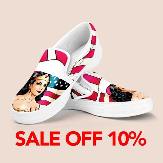 America Tiara Custom On Marvel Wonder on Woman Shoes Shoes Superhero Slip Wonder Custom Wonder Slip Woman Shoes Vans Shoes Woman Custom wXXqrUa7