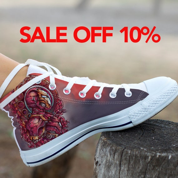 dd3ddbe47555 Iron Shoes Converse Stark Avengers Superhero Tony Shoes Marvel Custom Custom  America High Custom Top Iron ...