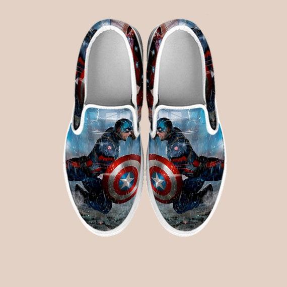 Custom Slip Comic Thanos Shoes On Marvel Vans America Hulk Marvel Iron Avengers War Man Infinity Custom Captain Custom Comic Shoes S5a0qnw1