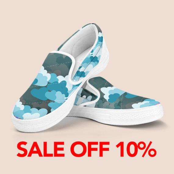 Custom Slip Clouds Custom Beautiful on Sky Kid Vintage Vans Slip Shoes Cloud Slip Blue On Shoes Shoes Shoes Cloud Pastel Pattern on HB4qtXn