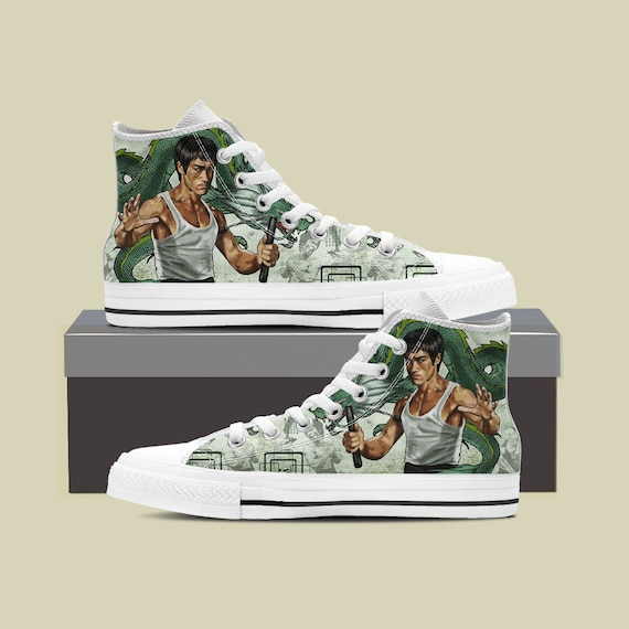 Shoes Custom Converse Dragon The Enter High Lee fu High Martial Sneaker Converse Custom Bruce Top Arts Lee Shoes Bruce Top Kung Custom wqfnSz887