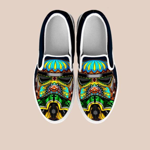 Death Star Vans Slip Vader Shoes Shoes Star Art on On Slip Wars Star Slip Shoes Wars Gift Wars Star On Star Wars Custom Darth Custom wYnIpO