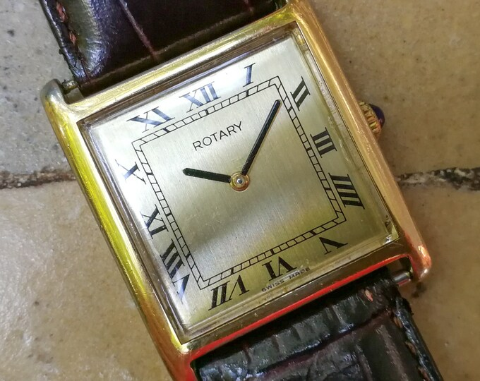 ROTARY Tank (Cartier Hommage) Gold plated - Cal. ETA 2512
